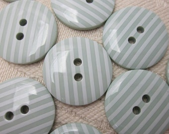 10 Candy Striped Sage Green Buttons