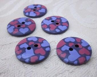 5 Purple Heart Pattern Buttons
