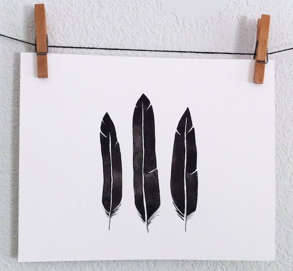 Black Feathers- Original Watercolor painting
