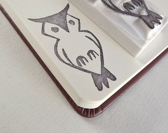hooty hoot owl - hand carved stamp