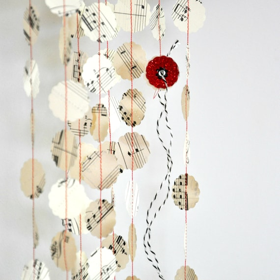 Vintage Music Stitched Paper Garland Christmas