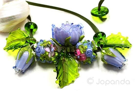 Lampwork by JOPANDA  Roses Miracle Purple Romantic Necklace