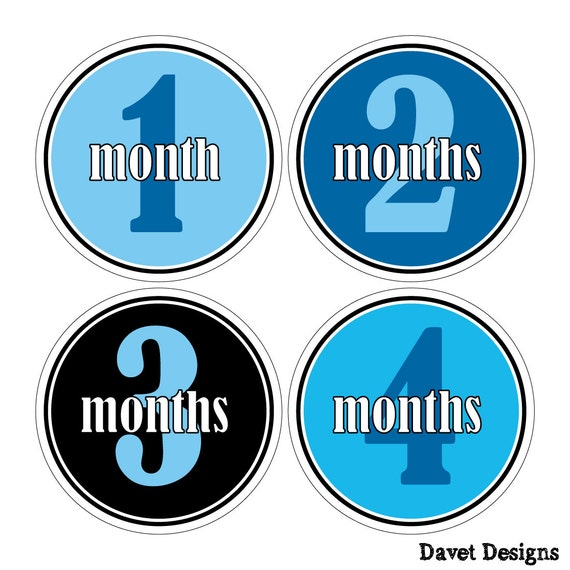 12 Monthly Baby Milestone Waterproof Glossy Stickers - Just Born - Newborn - Weekly stickers available - Design M021-02