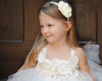 Whimsical Ivory Tutu Dresses with matching Hair Band for your little girl size 12M - 5T - Perfect for Birthday or wedding