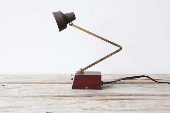 Faux Bois and Gold Tensor Desk Lamp