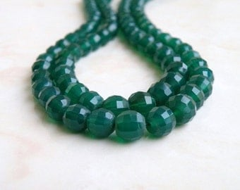 Green Onyx Gemstone Round Step Cut Faceted 5mm to 7mm Full Strand 50 beads