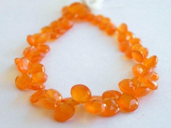 Carnelian Gemstone Briolette Faceted Heart Fanta Orange Top Drilled 7.5mm 1/2 Strand 25 beads
