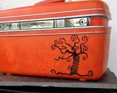 Samsonite Train Case Orange Red VINTAGE Luggage UPCYCLED with Black Tim Burton Striped Tree and Skeleton Key