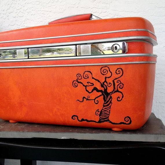 Samsonite Train Case Orange Red VINTAGE Luggage UPCYCLED with Black Tim Burton Striped Tree and Skeleton Key