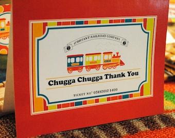 DIGITAL Thank You Note Card - Chugga Chugga Two Two (or any age) - Stripes, Polka Dots and Trains, Oh my