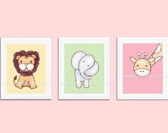 Childrens wall art, nursery art prints, baby girl nursery decor, safari animals, kids wall art, Set, 3 prints