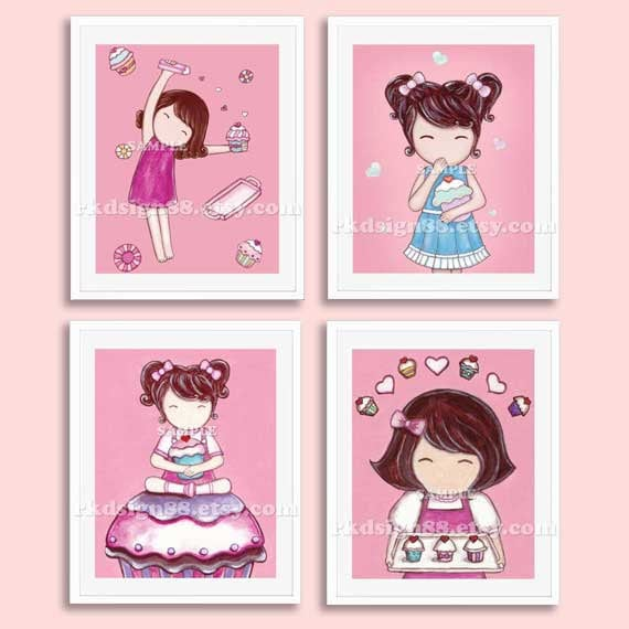 Girls Wall Art children's wall art cupcake nursery art prints baby girl