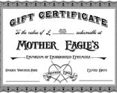 GBP 69 Mother Eagle Gift Certificate