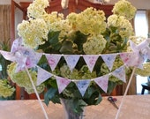 Mini Cake Topper Bunting - Shabby Pink Blue Ashwell Chic Floral  - Shower, Wedding, Birthday  Flags Banner