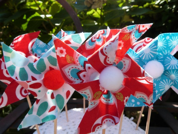 For Melissa - Pinwheel Cupcake Flags - 12 Fabric  Cake Toppers, use for a Baby Shower, Birthday, Celebration, Graduation, or a party