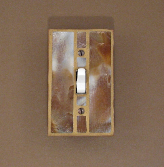 Stained Glass - Switch Plate Cover - Light Switch Cover - Cow Hide Brown - Single Toggle 7410