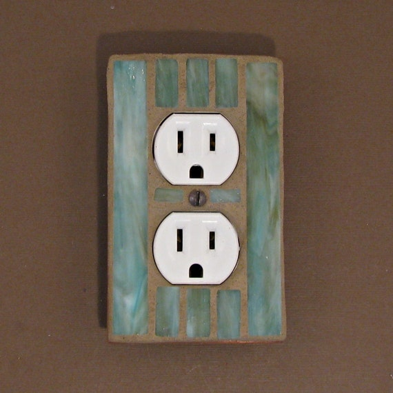 Moss Green - Single Outlet Wall Plate - Outlet Plate Cover - Stained Glass - 7432