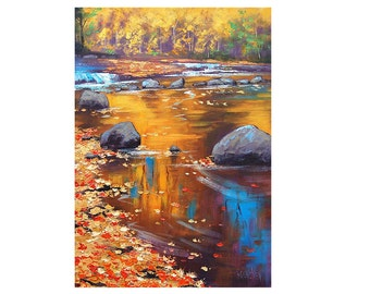 Listed ARTIST RIVER PAINTING  Autumn Painting Landscape art Fall wall decor Graham gercken