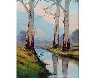 eucalyptus trees Original Oil Painting Trees landscape River Painting Traditional Art decor by G.Gercken