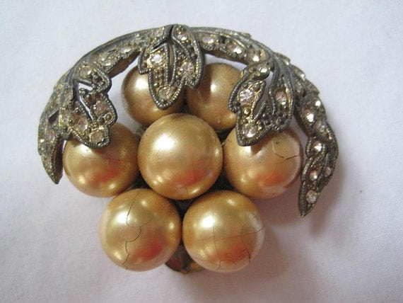 Antique Art Deco Clip - Rhinestone and Pearl AS IS