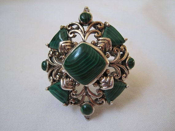 Vintage Ring - Sterling and Malachite - Statement Ring