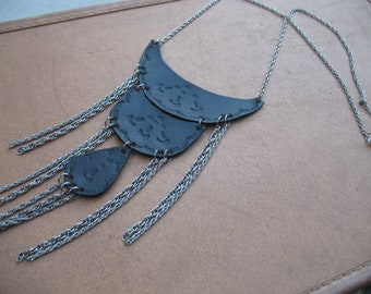 Tooled Leather Tiered Necklace with Chain Fringe  //  Stardust  //  by HEXEREI