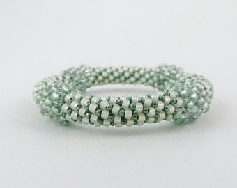Bead Crochet Bangle in Emerald, Peridot Green and Antique White - Ballroom or Special Occasion Bracelet- Item 1316
