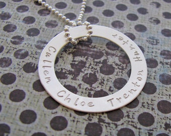 custom silver circle washer necklace - customize with names, date, message, quote
