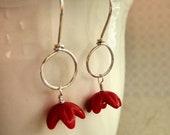 Earrings . Simple Little Buds . Vintage Acrylic, Sterling