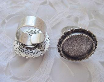 2 Adjustable Ring Blanks Large Ornate Circle Wide Band  (No. ND219)