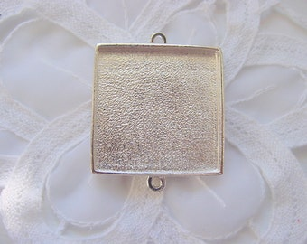 2 Pendant Tray Blanks Extra Large Sterling Silver Plated Pewter Square Double Loop (No. ND182)