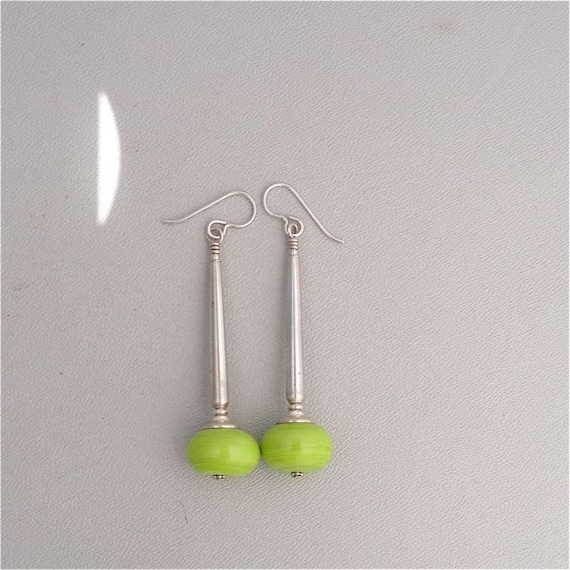 Lamp Work Chartreuse Green Glass and Sterling Silver Earrings