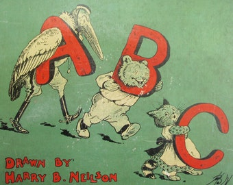 Hardcover Antique Children's Book, Front Cover ONLY to Frame, An Animal ABC, Vintage Alphabet Book Cover, Children's Decor, 1910 Hardcover