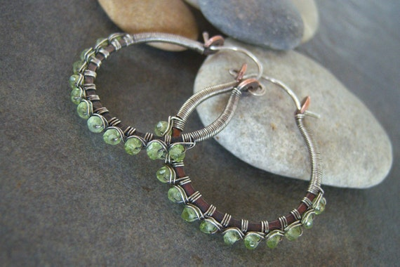 Hoop Earrings-Handmade Beaded-Peridot-Gemstone-Sale-Free Shipping.