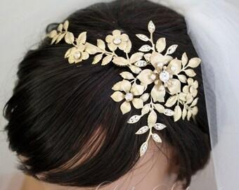Wedding Headband Bridal Side Tiara Gold Swarovski Crystals Pearls Golden Shadow Flower Headpiece Leaf Hair Accessory  SAMANTHA