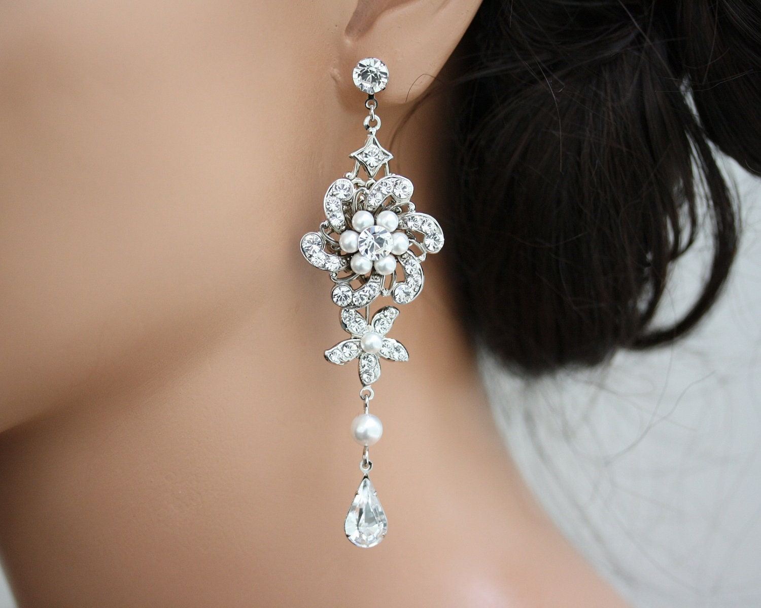 Dramatic Bridal Earrings Long Wedding Earrings Flower