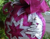 Pink and Silver Quilted Christmas Ornament