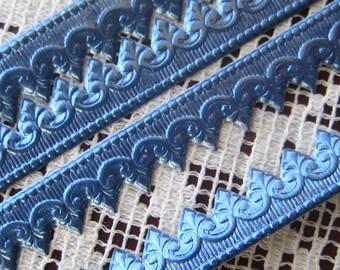 Germany Blue Embossed Fancy Baroque Foil Paper Dresden Trim  DFW 221 BL