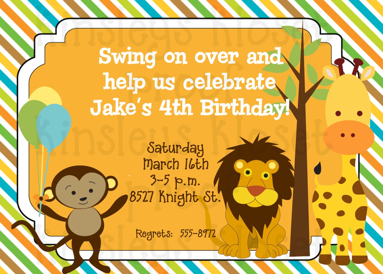 Jungle Party Invitation Jungle Birthday Party Invitation – Jungle Party Invitation