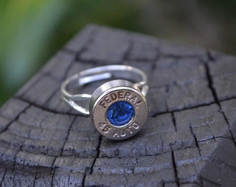 Bullet Shell Ring Handcrafted by me...... Silver Federal .45 Auto ring with Swarovski September birthstones