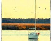 Savannah Marsh (Watercolor Print - 8x10 - Wet Lands - Coastal - Water - Georgia - Boat - Fine Art print - Wall Art)