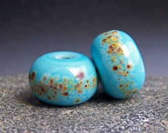 MruMru Handmade Lampwork Glass Bead Earring Pair. Turquoise,  Sra.