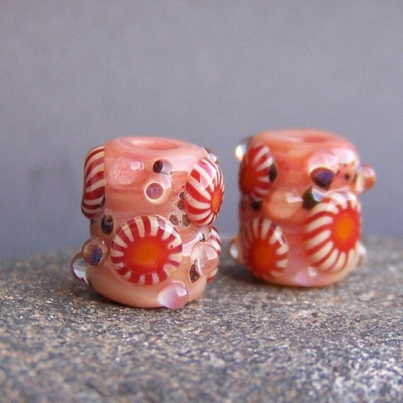 MruMru handmade lampwork beads, earring pair set.  MINI Boro ORGANIC murrini rolos.  Sra