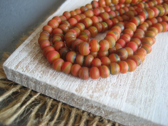 Mini Round lampwork glass beads  Stripes  - 3 mm  - 16 inches strand  - 2Bbgl117