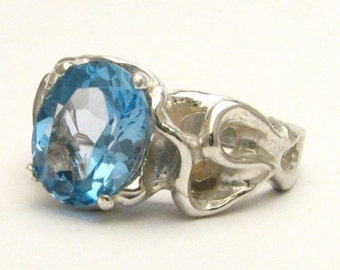 Handmade Sterling Silver Gothic Blue Topaz Gemstone Ring