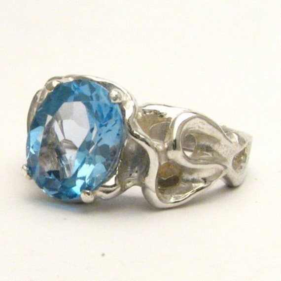 Handmade Sterling Silver Gothic Blue Topaz Gemstone Ring