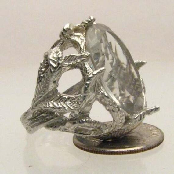 Handmade Sterling Silver Clear Quartz Stone Gemstone Ring