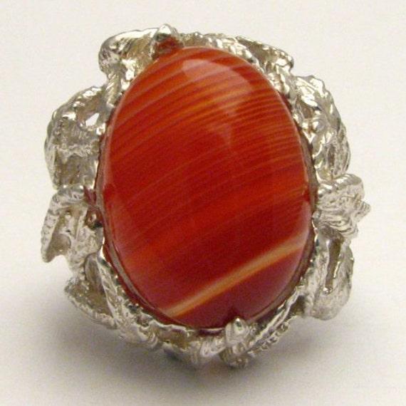 Handmade Solid Sterling Silver Red/White Sardonyx Cab Gemstone Ring