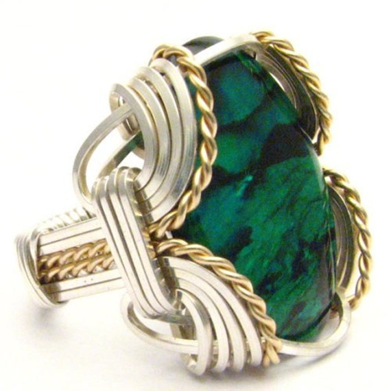 Handmade Wire Wrap Sterling Silver/14kt Gold Filled Green Paua Ring