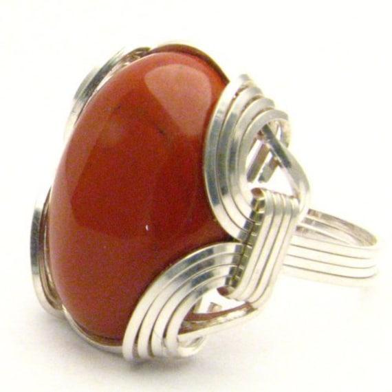 Handmade Sterling Silver Wire Wrap Red Jasper Ring